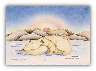 Inuit Art Print-Mabel Nigiyok-Journey to the Sea-Canadian Arctic Art-Polar Bears-Caring for Prints