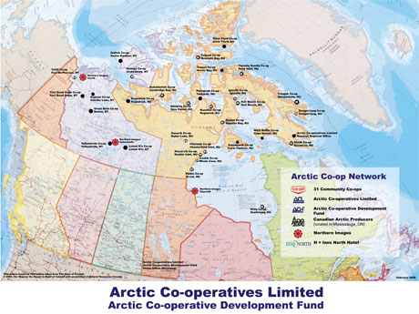 Co-op Map-Northern Images-Inuit Art Galleries-Inns North-Co-op Network-Canadian Arctic Map-Arctic Co-operatives Limited-Canadian Arctic Art